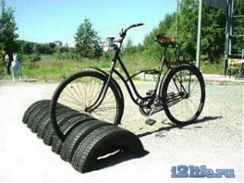 стоянка для велосипедов из шин